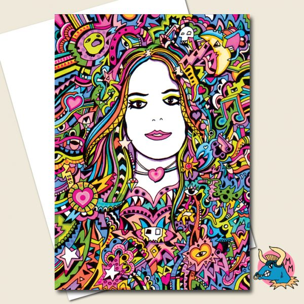 Rainbow Girl Psychedelic Greeting Card