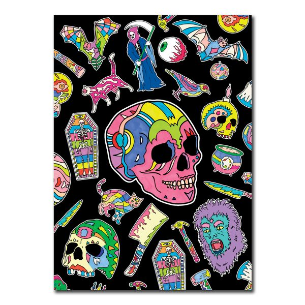 front cover of notebook featuring pink skull on a black background surrounded by other halloween themed objects.