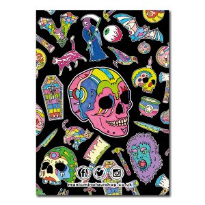 back cover of notebook featuring pink skull on a black background surrounded by other halloween themed objects.