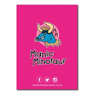 back cover of notebook with manic minotaur logo on pink background