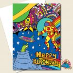 Spaceman Birthday Card