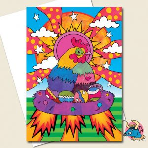 Space Chicken Greeting Card