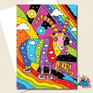 Rainbow Goat Birthday Card