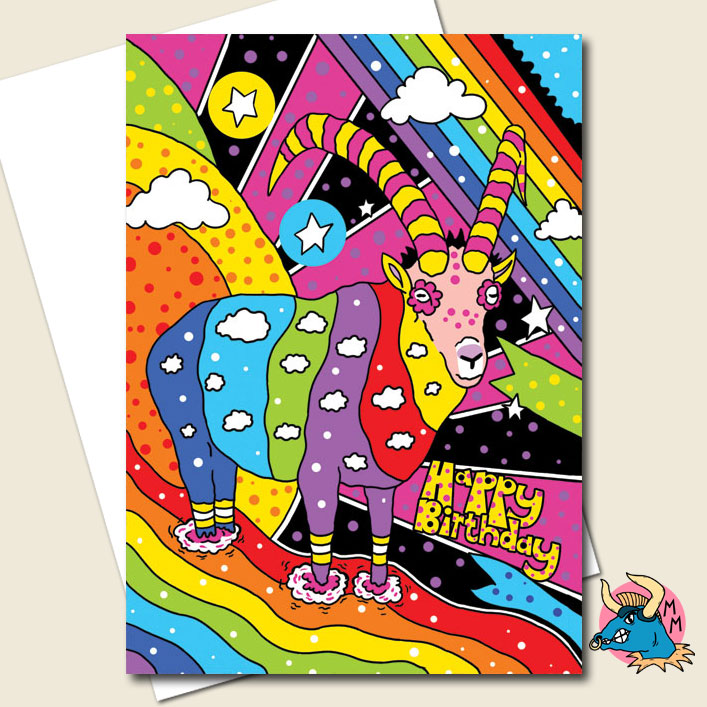 Psychedelic Goat Birthday Card