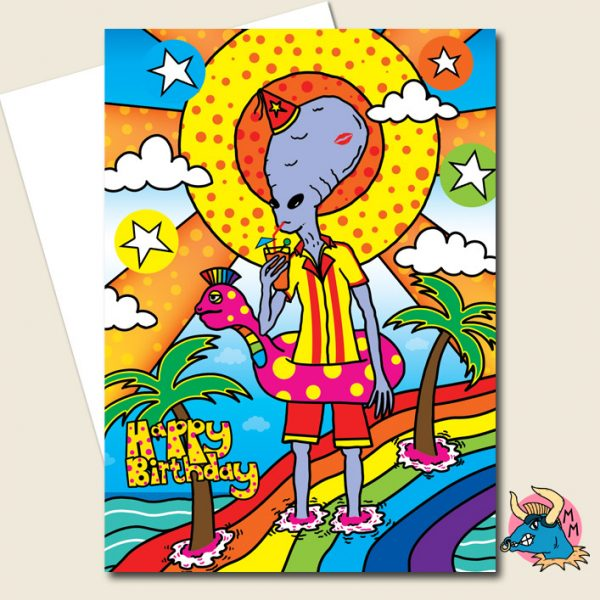 Alien Vacation Birthday Card
