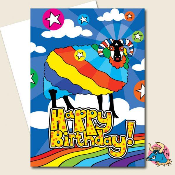 Cosmic Sheep Birthday Card