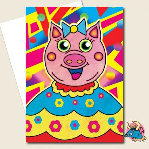 Piggy Wig Greeting Card