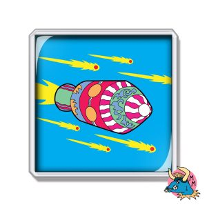 Moon Rocket Fridge Magnet