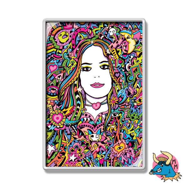 Rainbow Girl Psychedelic Fridge Magnet