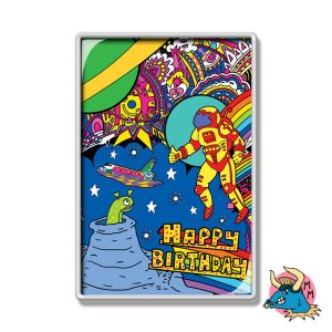 Spaceman Alien Happy Birthday Fridge Magnet
