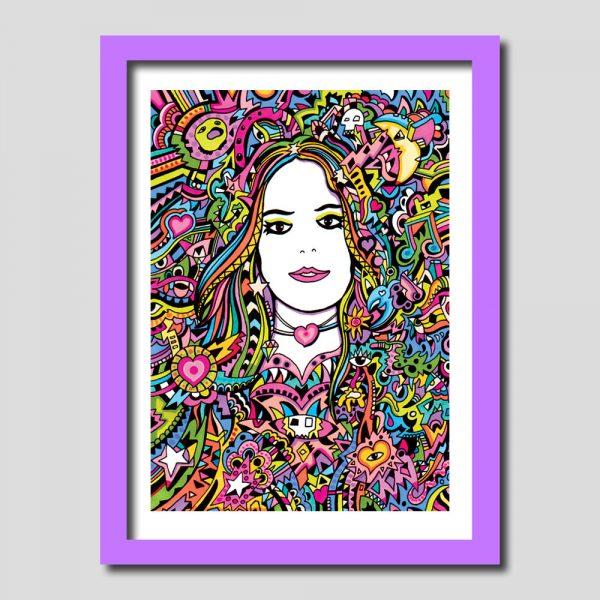 Rainbow Girl Psychedelic Art Print